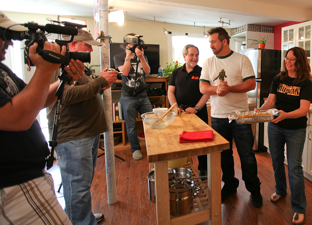 Anne cooks with Joey Fatone on My Family Recipe Rocks at Rancho Obi-Wan