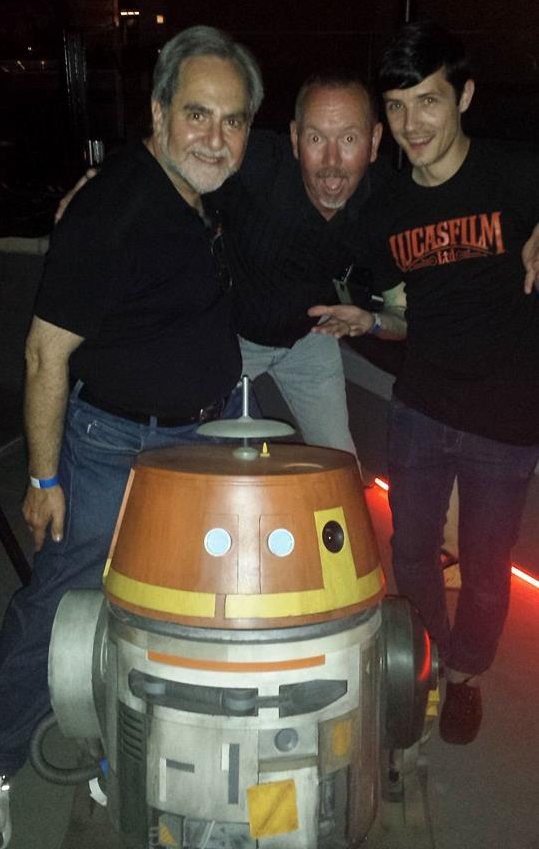 At the Star Wars REBELS party with Michael McMaster, who built the full-size Chopper, and Lucasfilm's Matt Martin.
