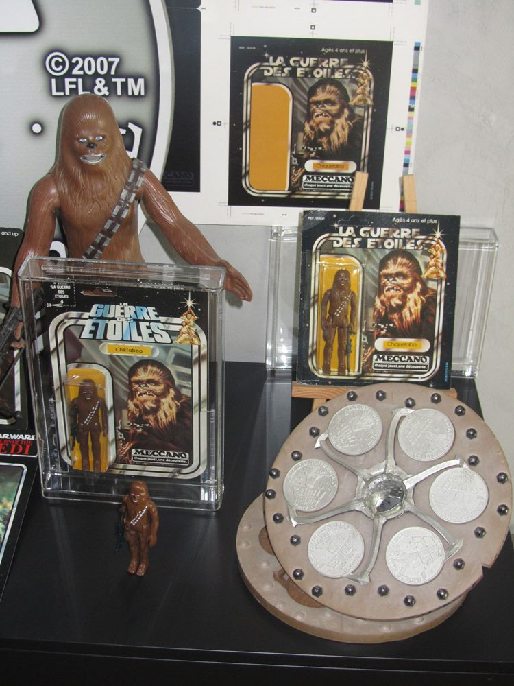 """""""I chose Chewbacca when I was asked to sponsor a pewter medallion for Celebration Europe in 2007, where I also printed up reproductions of French Chewbacca packaging samples and a rare French diorama."""""""